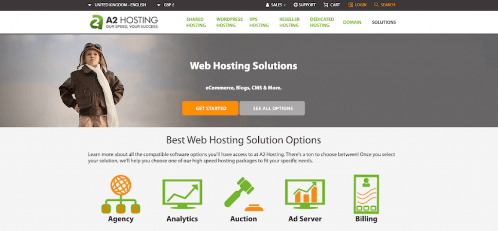 a2 hosting review landing page